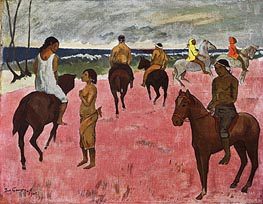 On Horseback at Seashore | Gauguin | Gemälde Reproduktion