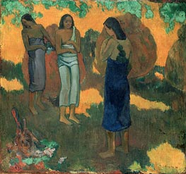Three Tahitian Women Against a Yellow Background | Gauguin | Gemälde Reproduktion