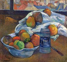 Bowl of Fruit and Tankard before a Window, c.1890 by Gauguin | Painting Reproduction