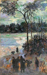 The Fire at the River Bank, 1886 von Gauguin | Gemälde-Reproduktion