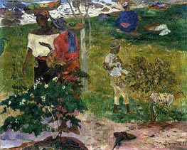 Tropical Conversation, 1887 by Gauguin | Painting Reproduction
