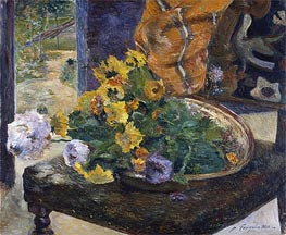 To Make a Bouquet, 1880 by Gauguin | Painting Reproduction