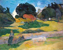 Girl Herding Pigs, 1889 by Gauguin | Painting Reproduction