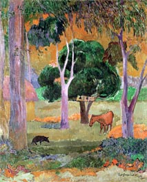 Dominican Landscape or, Landscape with a Pig and Horse, 1903 von Gauguin | Gemälde-Reproduktion