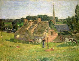 Lollichon's Field and the Church of Pont-Aven, 1886 von Gauguin | Gemälde-Reproduktion