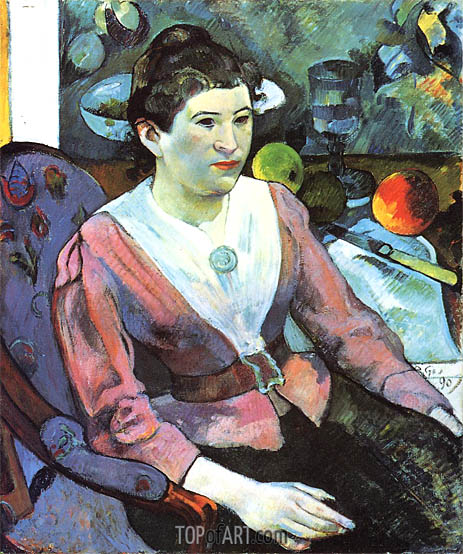 Portrait of a Woman with Cezanne Still Life, 1890 | Gauguin | Gemälde Reproduktion