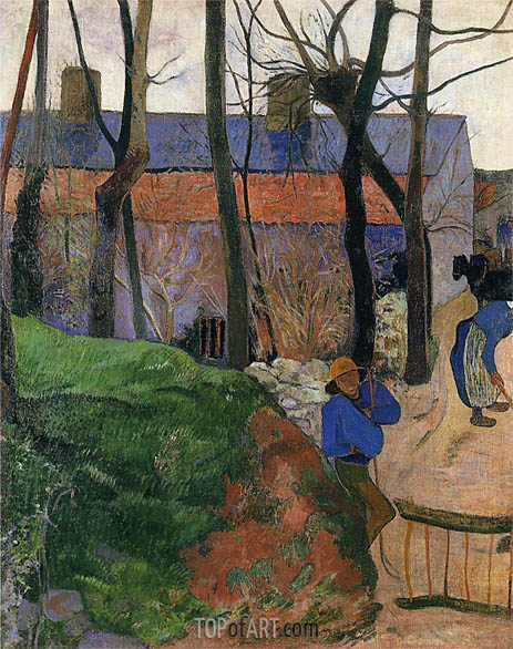 Houses in le Pouldu, 1890 | Gauguin | Painting Reproduction