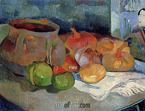 Still Life with Onions, Beetroot and a Print, 1889 | Gauguin | Painting Reproduction