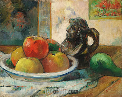 Still Life with Apples, Pear and Ceramic Jug, 1889 | Gauguin | Painting Reproduction