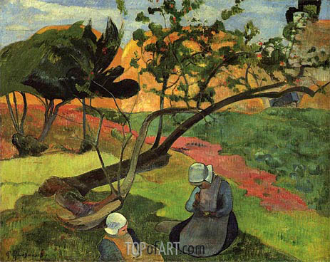 Little Girls (Landscape with Two Breton Girls), 1889 | Gauguin | Painting Reproduction