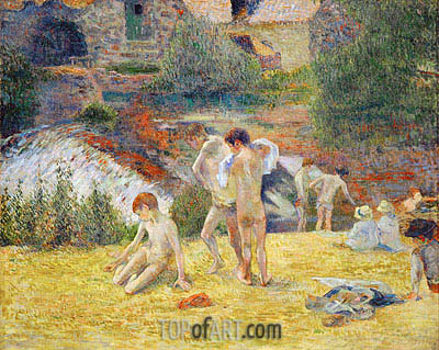 Boys from Britanny Bathing (Bath next to the mill in the Bois d'Amour), 1886 | Gauguin | Painting Reproduction