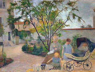 Garden in Vaugirard (The Artist's Family in the Garden in rue Carcel, Paris), 1881 | Gauguin | Gemälde Reproduktion