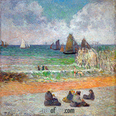The Beach at Dieppe (The Bathers), 1885 | Gauguin | Painting Reproduction