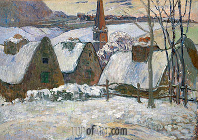 Village in Brittany in the Snow, 1894 | Gauguin | Painting Reproduction