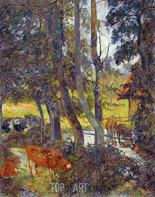 Landscape in Normandy with Pond, 1885 | Gauguin | Painting Reproduction