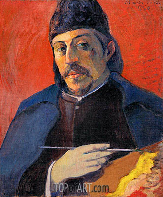 Self Portrait with Palette, c.1893/94 | Gauguin | Gemälde Reproduktion