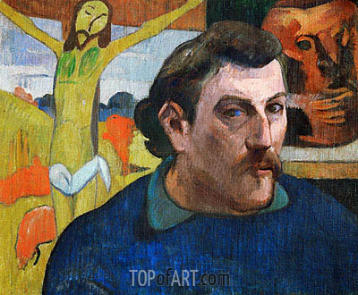 Self Portrait with Yellow Christ, c.1890/91 | Gauguin | Gemälde Reproduktion