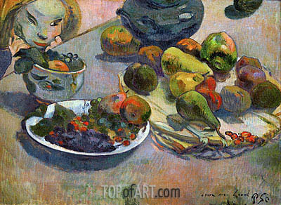 Still Life with Fruits, 1888 | Gauguin | Gemälde Reproduktion