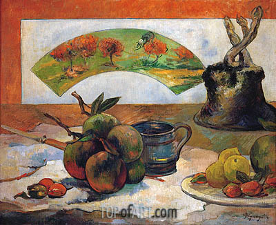 Still Life with Fruits and Fan, 1888 | Gauguin | Painting Reproduction