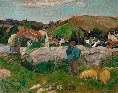 The Swineherd (Peasants with Pigs), 1888 | Gauguin | Painting Reproduction