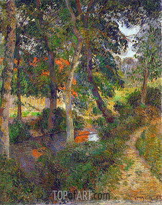 Father Jean's Walk (The Red Roofs), 1886 | Gauguin | Gemälde Reproduktion