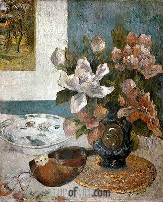 Still life with Peonies and Mandolin, 1885 | Gauguin | Painting Reproduction