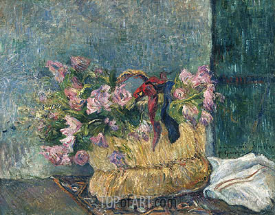 Still Life with Moss Roses in a Basket, 1886 | Gauguin | Painting Reproduction