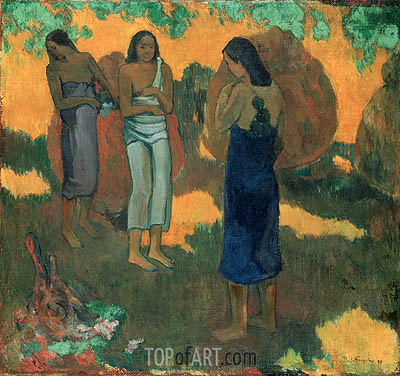 Three Tahitian Women Against a Yellow Background, 1899 | Gauguin | Gemälde Reproduktion