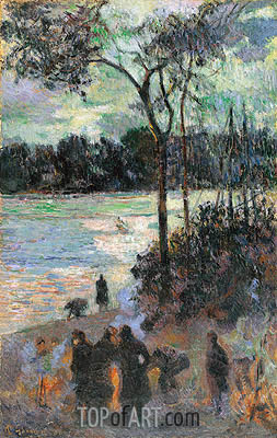 The Fire at the River Bank, 1886 | Gauguin | Painting Reproduction