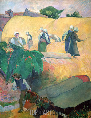 Haymaking, 1889 | Gauguin | Painting Reproduction