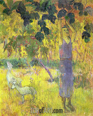 Man Picking Fruit from a Tree, 1897 | Gauguin | Gemälde Reproduktion