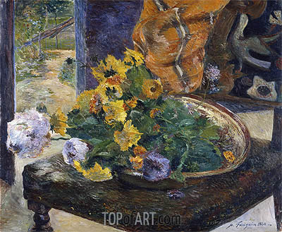 To Make a Bouquet, 1880 | Gauguin | Gemälde Reproduktion