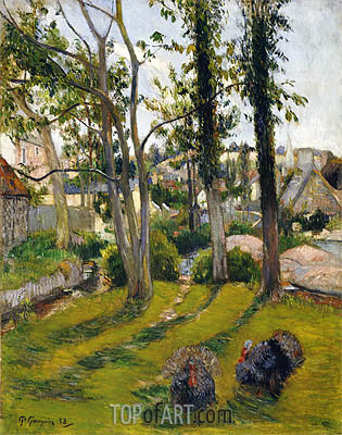 The Turkeys (Pont Aven Landscape), 1888 | Gauguin | Painting Reproduction