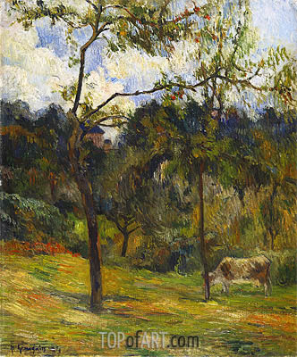 Normandy Landscape: Cow in a Meadow, 1884 | Gauguin | Gemälde Reproduktion