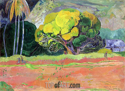 Fatata te Moua (At the Foot of the Mountain), 1892 | Gauguin | Gemälde Reproduktion