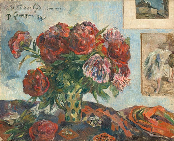 Still Life with Peonies, 1884 | Gauguin | Painting Reproduction
