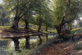 A Stream Through the Glen, Deer in the Distance, 1905 by Peder Monsted | Painting Reproduction