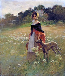 Young Girl and Dog, 1890 by Edward Percy Moran | Painting Reproduction