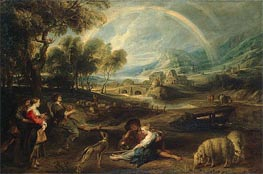Landscape with a Rainbow, c.1630/35 by Rubens | Painting Reproduction