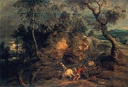 Landscape with Stone Carriers, c.1620 by Rubens | Painting Reproduction