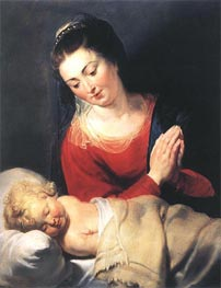 Virgin in Adoration before the Christ Child, c.1615 von Rubens | Gemälde-Reproduktion