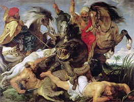 Hippopotamus and Crocodile Hunt | Rubens | Painting Reproduction