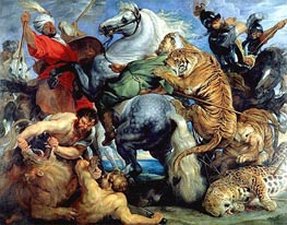 Tiger, Lion and Leopard Hunt | Rubens | Painting Reproduction