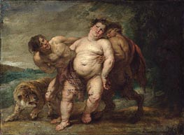 Drunken Bacchus with Faun and Satyr, undated by Rubens | Painting Reproduction