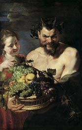 Satyr and Young Woman with Fruit Basket, 1615 by Rubens | Painting Reproduction