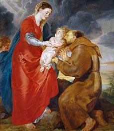 The Virgin Presents the Infant Jesus to Saint Francis, 1618 von Rubens | Gemälde-Reproduktion