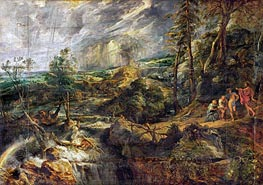 Landscape in a thunderstorm with Philemon and Baucis, Jupiter and Mercury | Rubens | Painting Reproduction