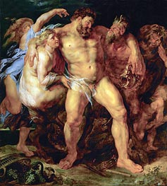 Drunk Hercules with Nymph and Satyr, c.1612/14 by Rubens | Painting Reproduction
