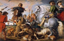 Wolf and Fox Hunt | Rubens | Painting Reproduction