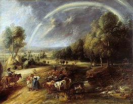 Landscape with Rainbow, c.1636 by Rubens | Painting Reproduction